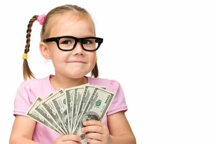 Girl with Glasses on and 8 100-Dollar Bills in Her Hand Smiling