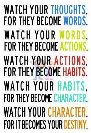 Watch your thoughts for they become your words ... habits